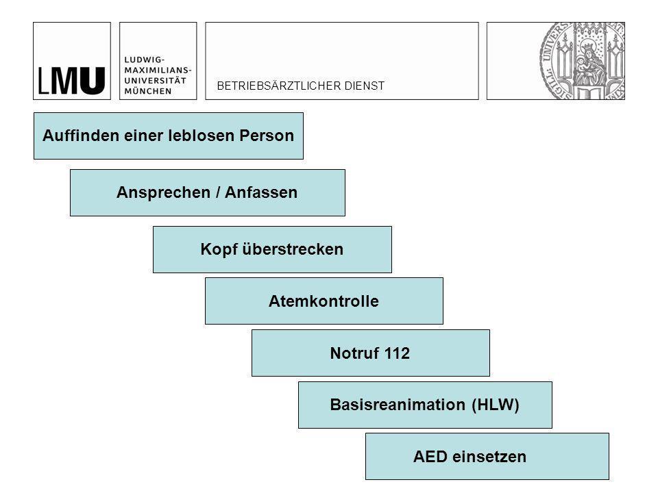 Auffinden einer leblosen Person Ansprechen / Anfassen Kopf überstrecken Atemkontrolle Notruf 112 Basisreanimation (HLW) AED einsetzen BETRIEBSÄRZTLICH
