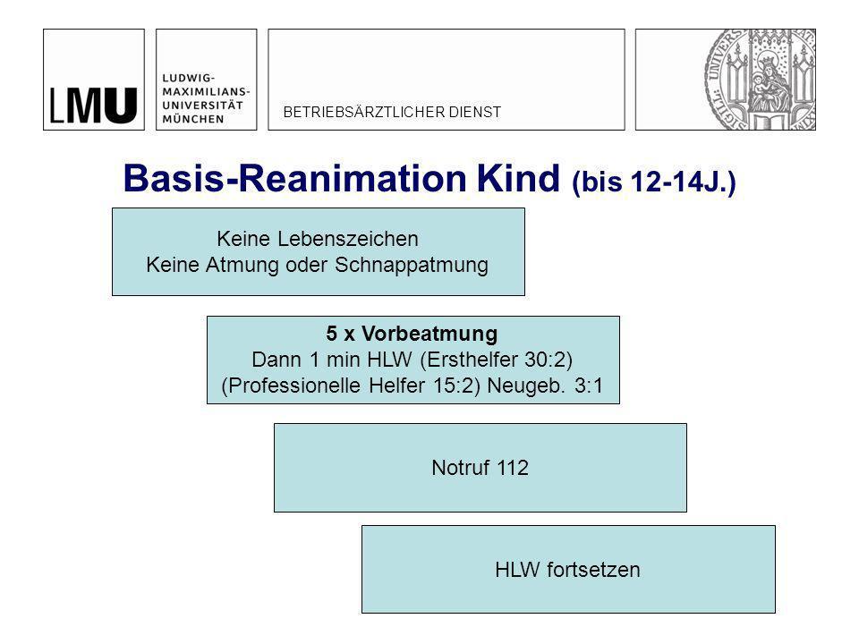 Basis-Reanimation Kind (bis 12-14J.) BETRIEBSÄRZTLICHER DIENST Keine Lebenszeichen Keine Atmung oder Schnappatmung 5 x Vorbeatmung Dann 1 min HLW (Ers