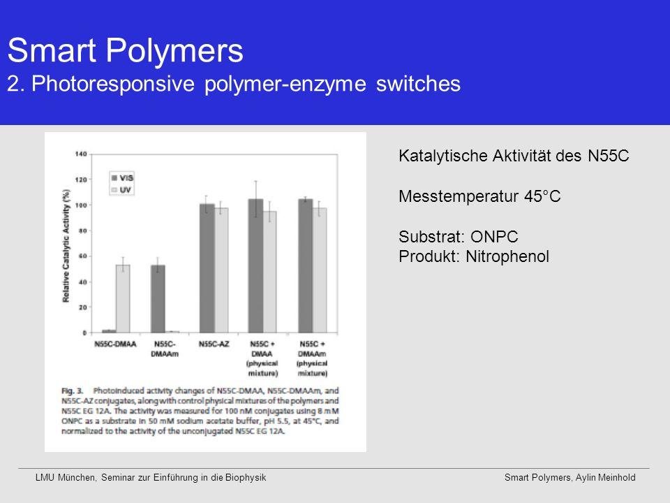 Smart Polymers 2. Photoresponsive polymer-enzyme switches LMU München, Seminar zur Einführung in die BiophysikSmart Polymers, Aylin Meinhold Katalytis