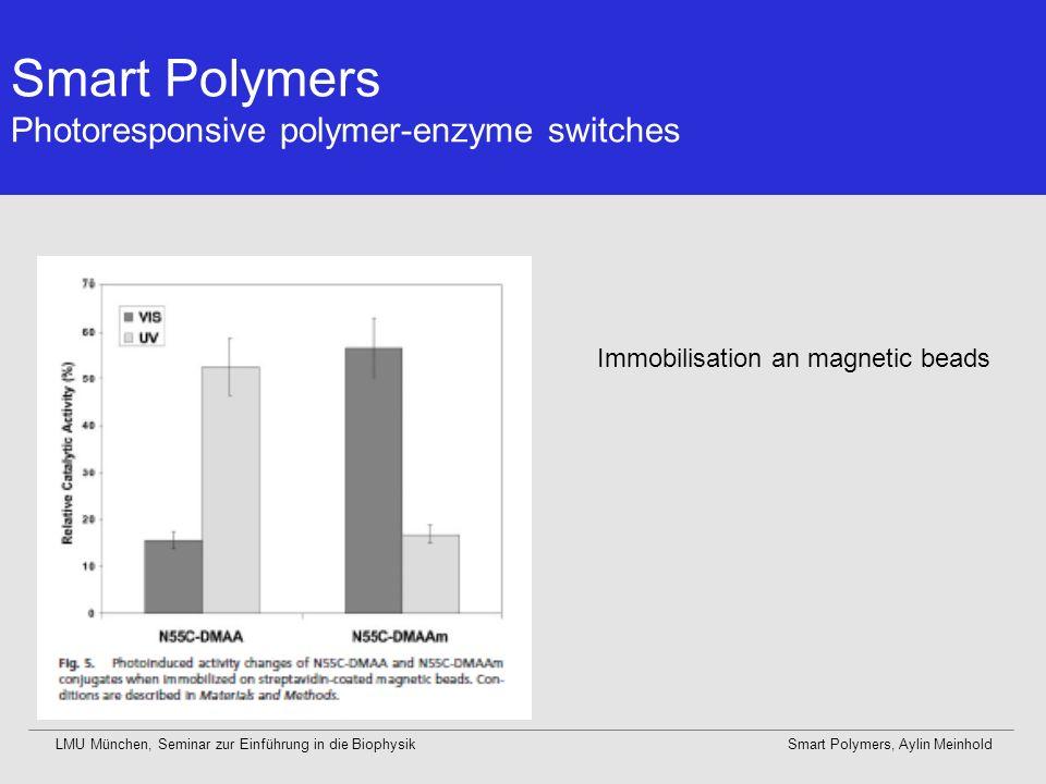 Smart Polymers Photoresponsive polymer-enzyme switches LMU München, Seminar zur Einführung in die BiophysikSmart Polymers, Aylin Meinhold Immobilisati