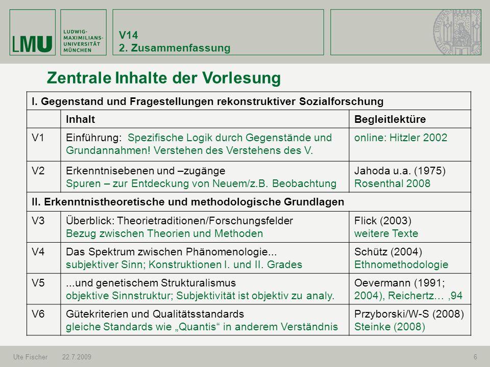 V14 2. Zusammenfassung Ute Fischer22.7.20096 Zentrale Inhalte der Vorlesung I. Gegenstand und Fragestellungen rekonstruktiver Sozialforschung InhaltBe