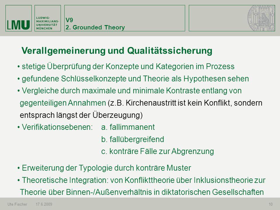 V9 2. Grounded Theory Ute Fischer17.6.200910 Verallgemeinerung und Qualitätssicherung stetige Überprüfung der Konzepte und Kategorien im Prozess gefun