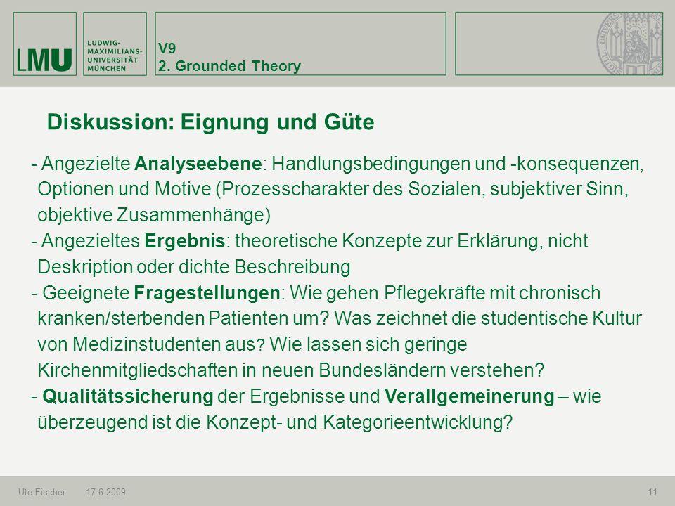 V9 2. Grounded Theory Ute Fischer17.6.200911 Diskussion: Eignung und Güte - Angezielte Analyseebene: Handlungsbedingungen und -konsequenzen, Optionen