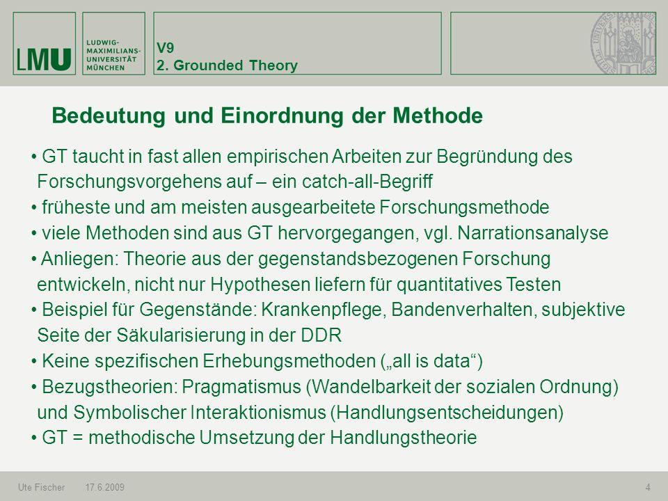 V9 2. Grounded Theory Ute Fischer17.6.20094 Bedeutung und Einordnung der Methode GT taucht in fast allen empirischen Arbeiten zur Begründung des Forsc
