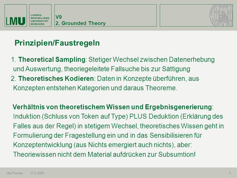 V9 2. Grounded Theory Ute Fischer17.6.20095 Prinzipien/Faustregeln 1. Theoretical Sampling: Stetiger Wechsel zwischen Datenerhebung und Auswertung, th