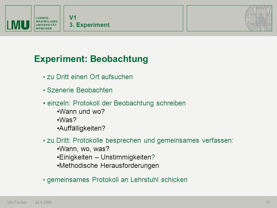 V1 3. Experiment Ute Fischer22.4.200913 Experiment: Beobachtung Szenerie Beobachten zu Dritt: Protokolle besprechen und gemeinsames verfassen: Wann, w