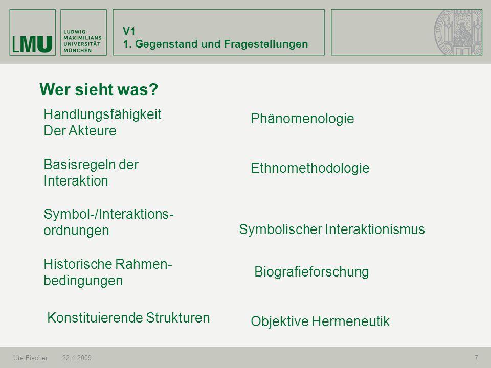 V1 1.Gegenstand und Fragestellungen Ute Fischer22.4.20098 Forschungsprozess 2.