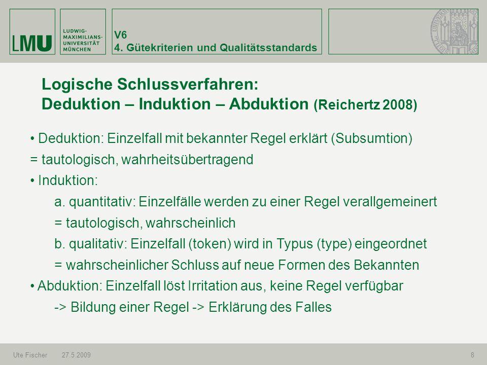 V6 4. Gütekriterien und Qualitätsstandards Ute Fischer27.5.20098 Logische Schlussverfahren: Deduktion – Induktion – Abduktion (Reichertz 2008) Dedukti