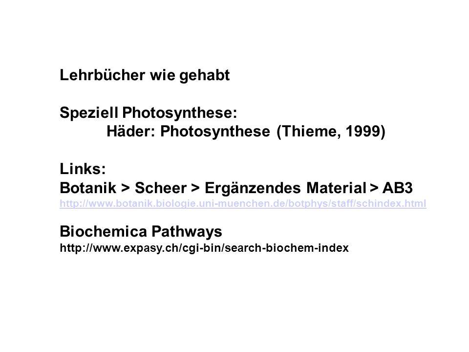 Lehrbücher wie gehabt Speziell Photosynthese: Häder: Photosynthese (Thieme, 1999) Links: Botanik > Scheer > Ergänzendes Material > AB3 http://www.botanik.biologie.uni-muenchen.de/botphys/staff/schindex.html Biochemica Pathways http://www.expasy.ch/cgi-bin/search-biochem-index
