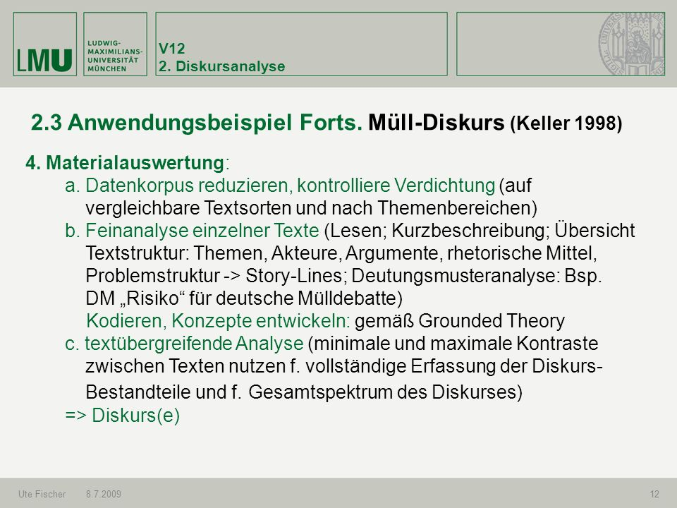 V12 2.Diskursanalyse Ute Fischer8.7.200912 2.3 Anwendungsbeispiel Forts.
