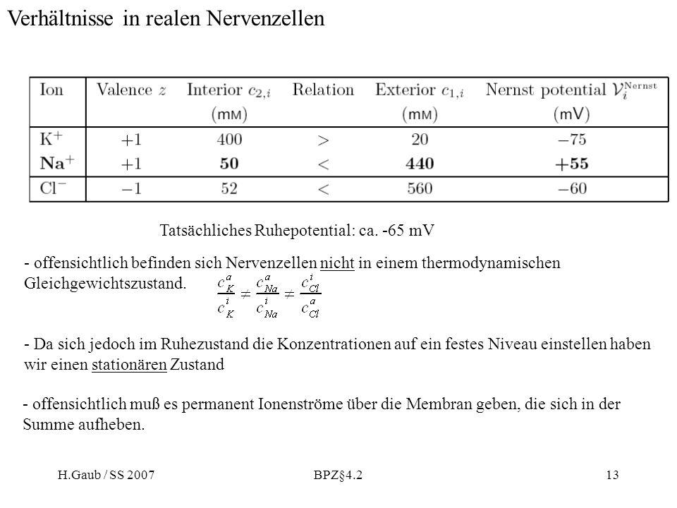 H.Gaub / SS 2007BPZ§4.213 - offensichtlich befinden sich Nervenzellen nicht in einem thermodynamischen Gleichgewichtszustand. - Da sich jedoch im Ruhe