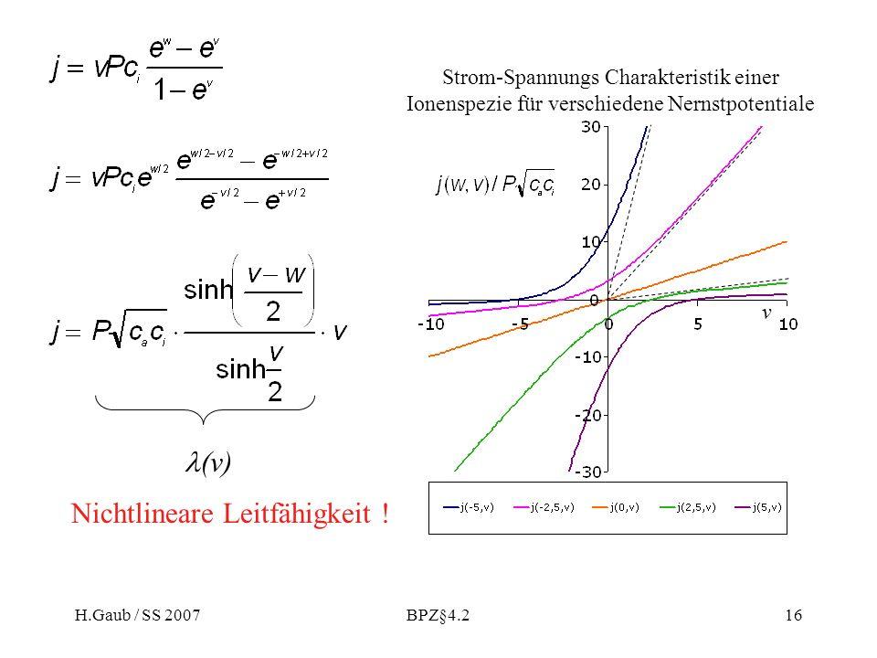 H.Gaub / SS 2007BPZ§4.216 (v) Nichtlineare Leitfähigkeit ! v Strom-Spannungs Charakteristik einer Ionenspezie für verschiedene Nernstpotentiale
