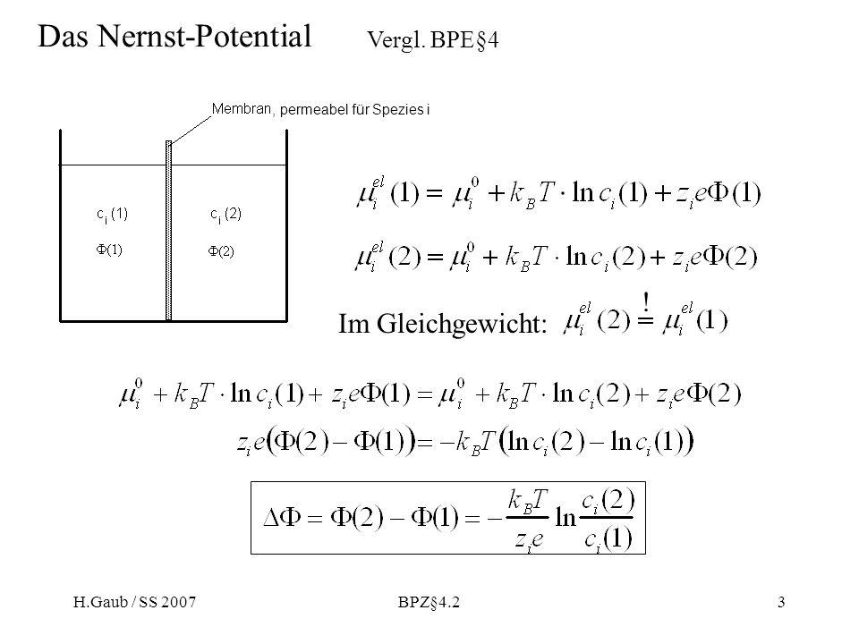 H.Gaub / SS 2007BPZ§4.23 Das Nernst-Potential, permeabel für Spezies i Vergl. BPE§4 Im Gleichgewicht: !