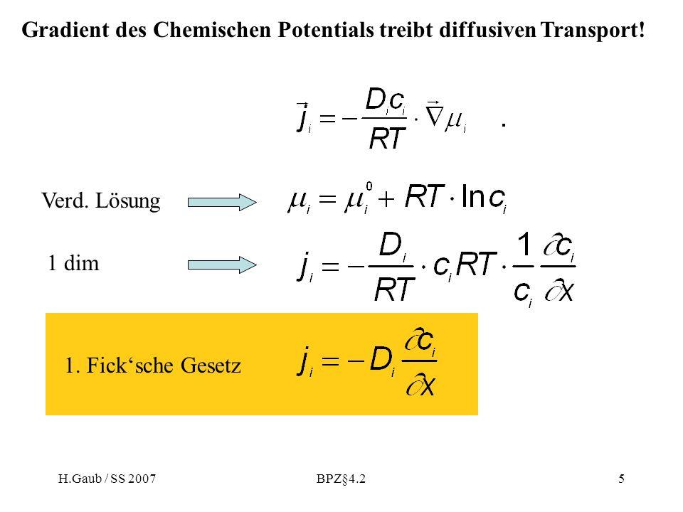 H.Gaub / SS 2007BPZ§4.25 Verd. Lösung 1 dim 1. Ficksche Gesetz Gradient des Chemischen Potentials treibt diffusiven Transport!