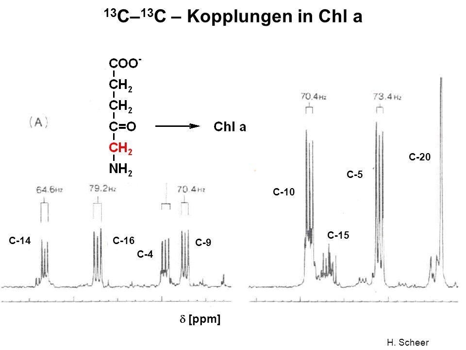 H. Scheer 13 C– 13 C – Kopplungen in Chl a C-14C-16 C-4 C-9 C-10 C-15 C-5 C-20 [ppm]