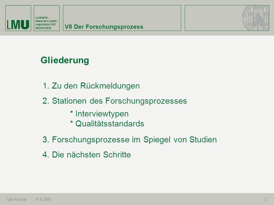 V8 Der Forschungsprozess Ute Fischer10.6.20092 Gliederung 1. Zu den Rückmeldungen 2. Stationen des Forschungsprozesses 3. Forschungsprozesse im Spiege