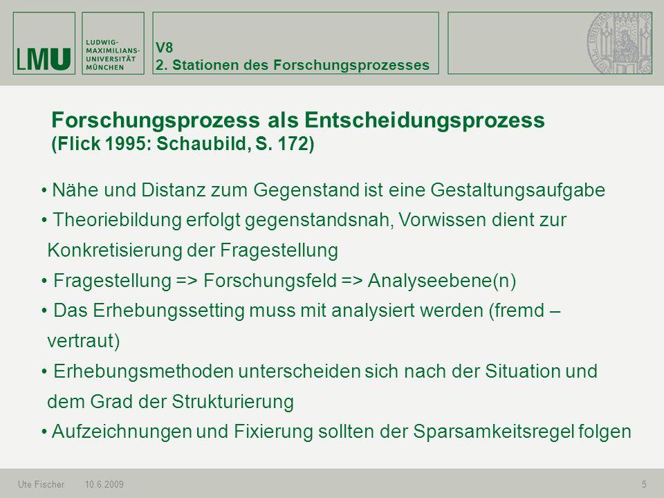V8 2. Stationen des Forschungsprozesses Ute Fischer10.6.20095 Forschungsprozess als Entscheidungsprozess (Flick 1995: Schaubild, S. 172) Nähe und Dist