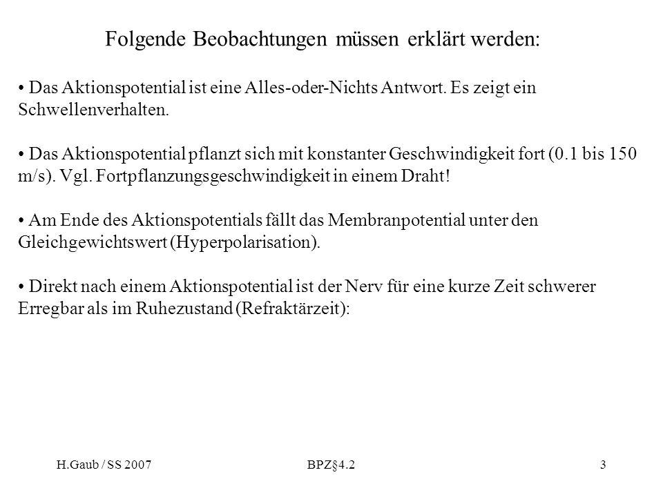 H.Gaub / SS 2007BPZ§4.23 Folgende Beobachtungen müssen erklärt werden: Das Aktionspotential ist eine Alles-oder-Nichts Antwort.