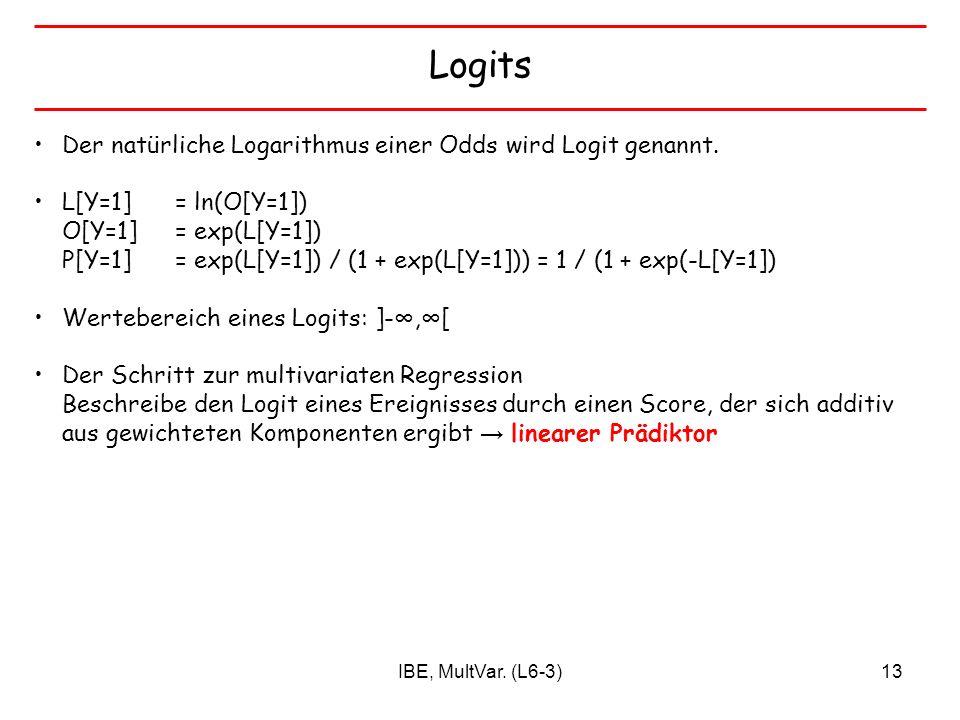IBE, MultVar. (L6-3)13 Logits Der natürliche Logarithmus einer Odds wird Logit genannt. L[Y=1] = ln(O[Y=1]) O[Y=1] = exp(L[Y=1]) P[Y=1] = exp(L[Y=1])