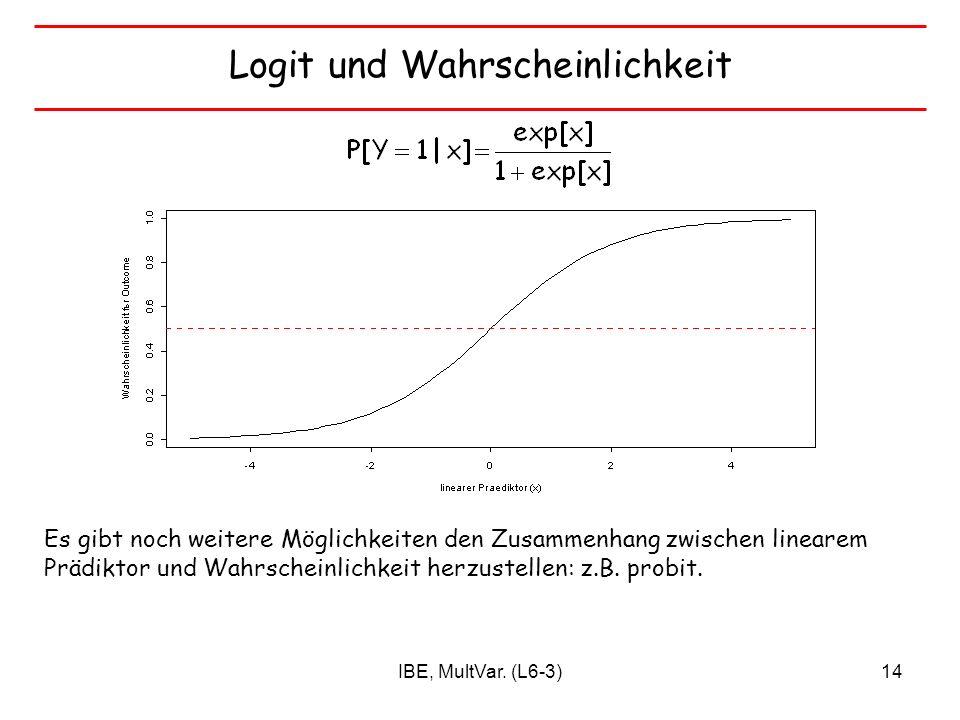 IBE, MultVar. (L6-3)14 Logit und Wahrscheinlichkeit Es gibt noch weitere Möglichkeiten den Zusammenhang zwischen linearem Prädiktor und Wahrscheinlich