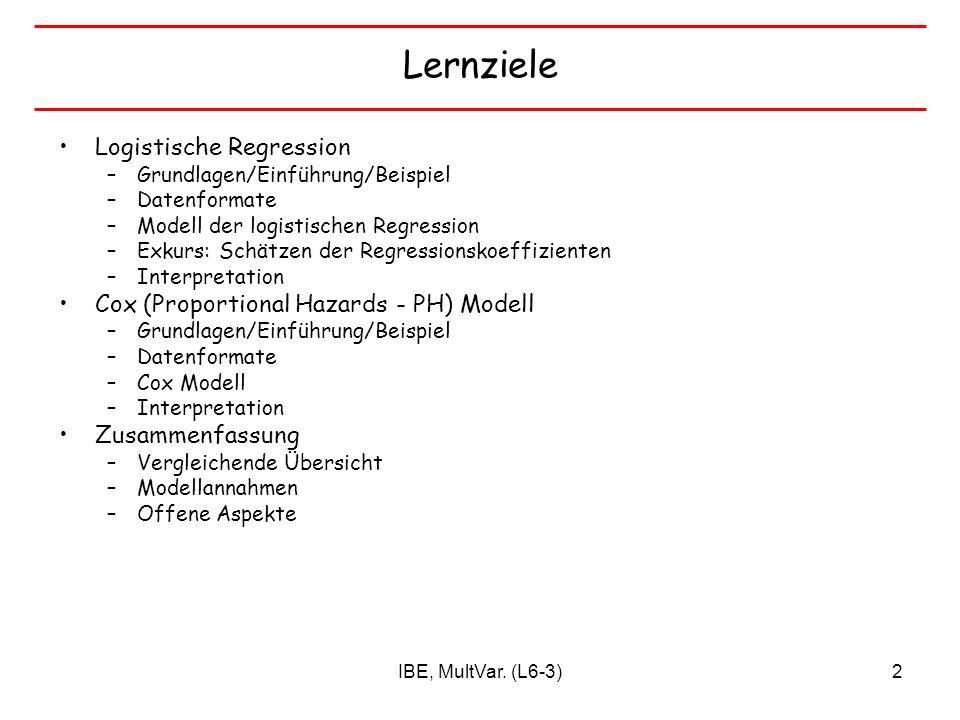 IBE, MultVar. (L6-3)2 Lernziele Logistische Regression –Grundlagen/Einführung/Beispiel –Datenformate –Modell der logistischen Regression –Exkurs: Schä