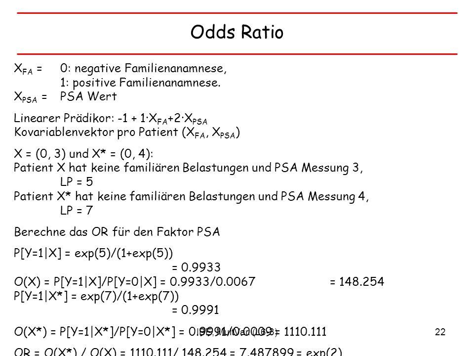 IBE, MultVar. (L6-3)22 Odds Ratio X FA = 0: negative Familienanamnese, 1: positive Familienanamnese. X PSA = PSA Wert Linearer Prädikor: -1 + 1X FA +2