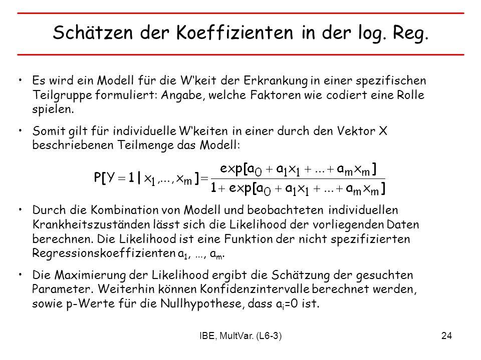 IBE, MultVar. (L6-3)24 Schätzen der Koeffizienten in der log. Reg. Es wird ein Modell für die Wkeit der Erkrankung in einer spezifischen Teilgruppe fo