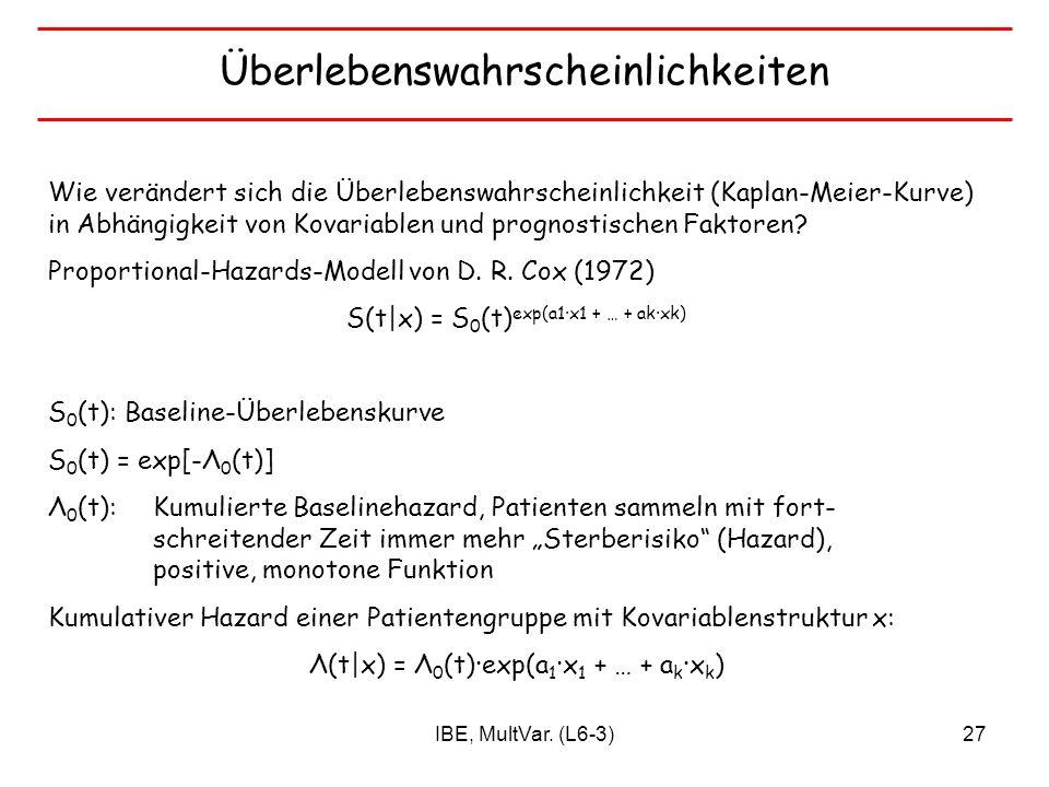 IBE, MultVar. (L6-3)27 Überlebenswahrscheinlichkeiten Wie verändert sich die Überlebenswahrscheinlichkeit (Kaplan-Meier-Kurve) in Abhängigkeit von Kov