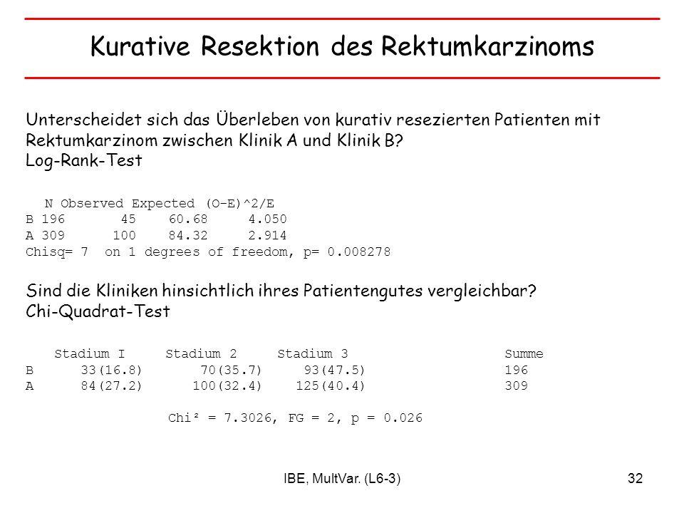 IBE, MultVar. (L6-3)32 Unterscheidet sich das Überleben von kurativ resezierten Patienten mit Rektumkarzinom zwischen Klinik A und Klinik B? Log-Rank-