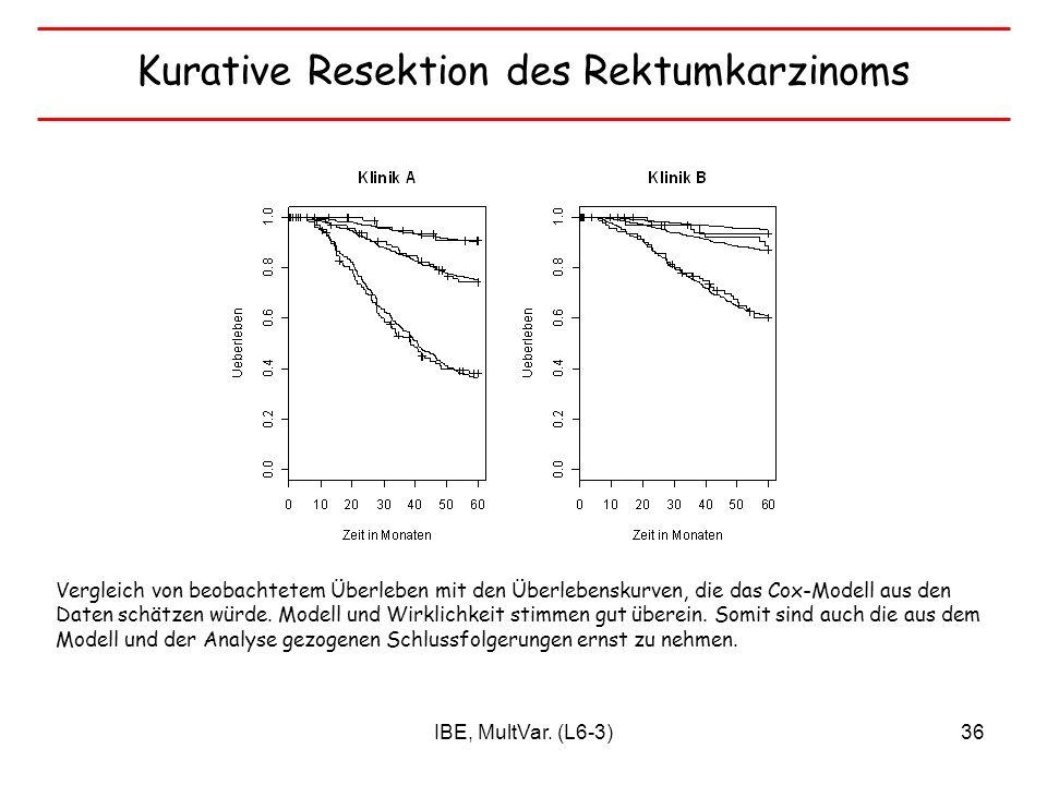 IBE, MultVar. (L6-3)36 Kurative Resektion des Rektumkarzinoms Vergleich von beobachtetem Überleben mit den Überlebenskurven, die das Cox-Modell aus de