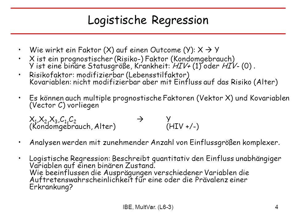 IBE, MultVar. (L6-3)4 Logistische Regression Wie wirkt ein Faktor (X) auf einen Outcome (Y): X Y X ist ein prognostischer (Risiko-) Faktor (Kondomgebr