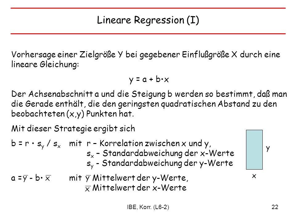 IBE, Korr. (L6-2)22 Lineare Regression (I) Vorhersage einer Zielgröße Y bei gegebener Einflußgröße X durch eine lineare Gleichung: y = a + bx Der Achs