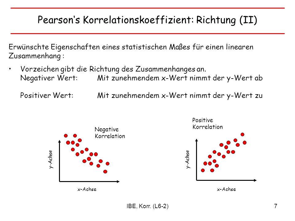 IBE, Korr. (L6-2)7 Pearsons Korrelationskoeffizient: Richtung (II) Erwünschte Eigenschaften eines statistischen Maßes für einen linearen Zusammenhang