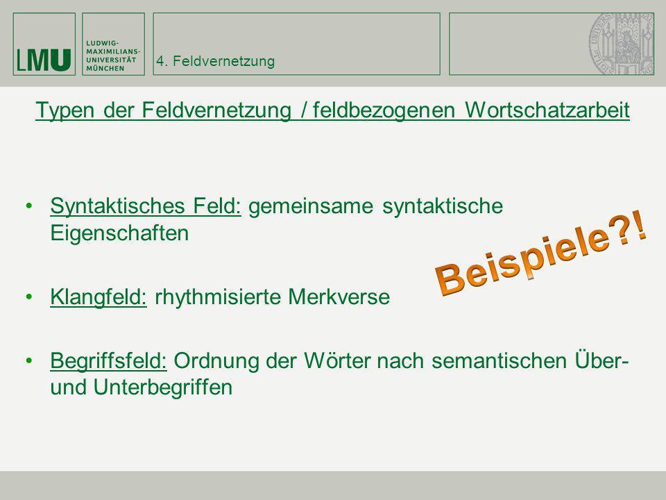4. Feldvernetzung Typen der Feldvernetzung / feldbezogenen Wortschatzarbeit Syntaktisches Feld: gemeinsame syntaktische Eigenschaften Klangfeld: rhyth