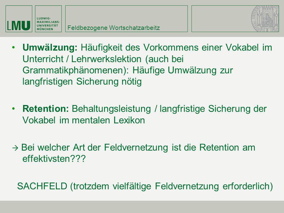 Feldbezogene Wortschatzarbeitz Umwälzung: Häufigkeit des Vorkommens einer Vokabel im Unterricht / Lehrwerkslektion (auch bei Grammatikphänomenen): Häu