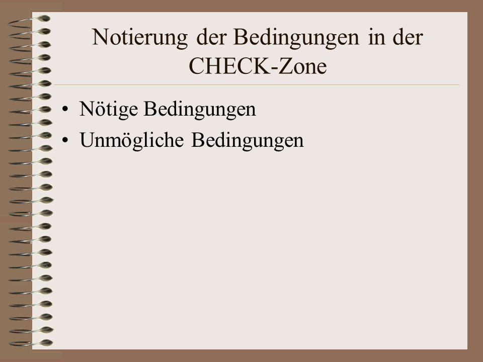 Notierung der Bedingungen in der CHECK-Zone Nötige Bedingungen Unmögliche Bedingungen
