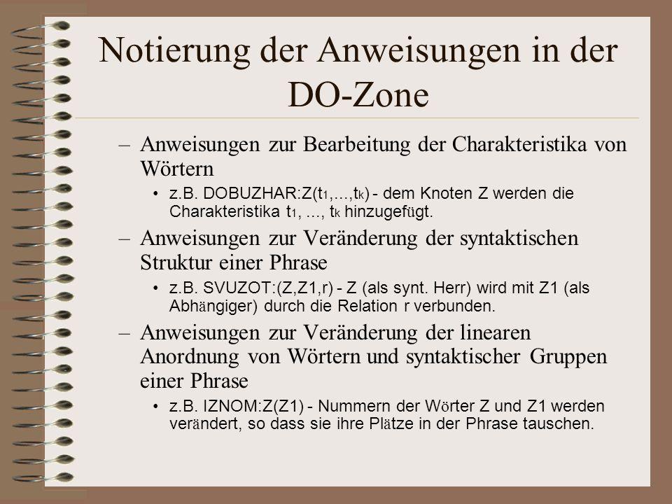 Notierung der Anweisungen in der DO-Zone –Anweisungen zur Bearbeitung der Charakteristika von Wörtern z.B.