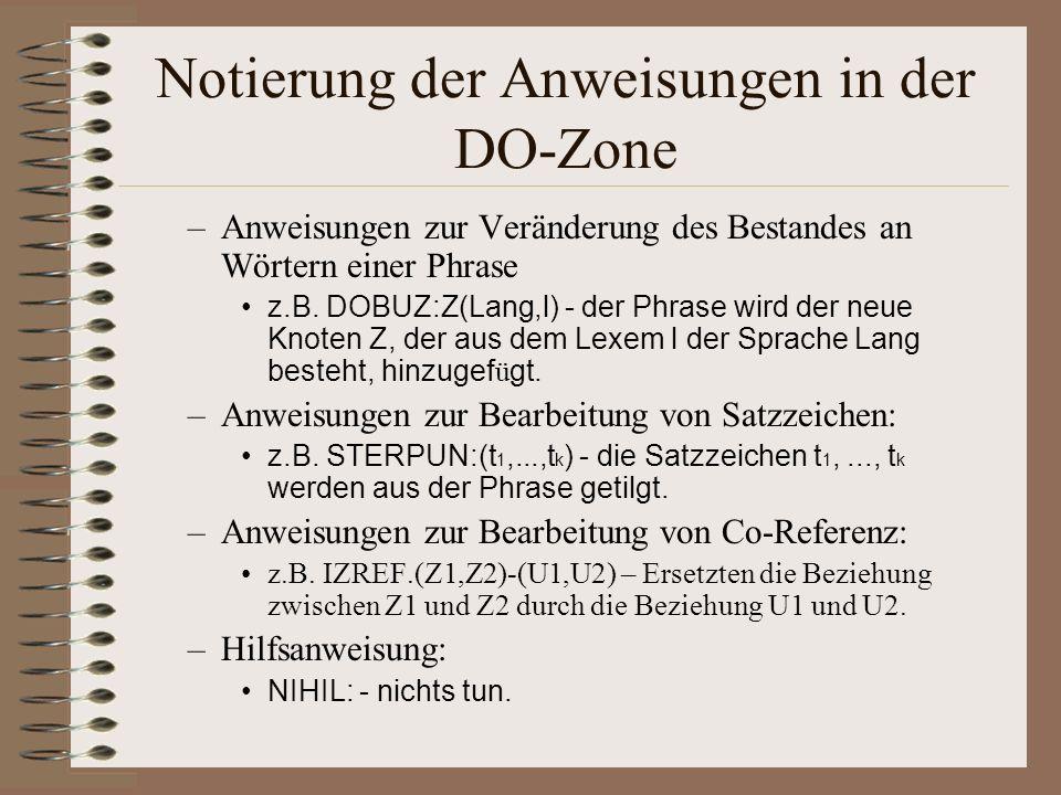 Notierung der Anweisungen in der DO-Zone –Anweisungen zur Veränderung des Bestandes an Wörtern einer Phrase z.B.