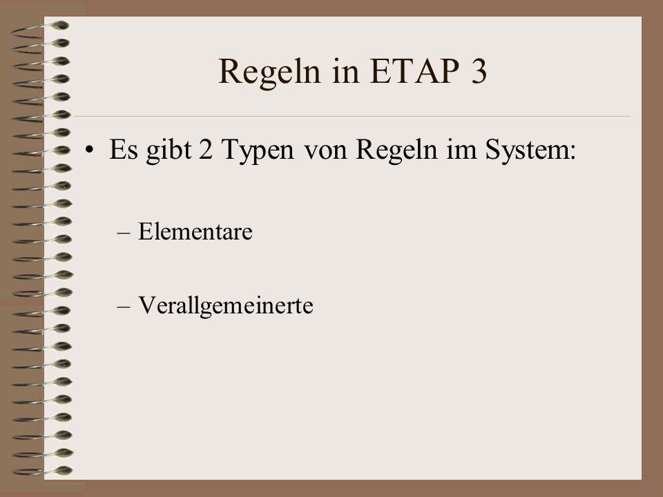 Regeln in ETAP 3 Es gibt 2 Typen von Regeln im System: –Elementare –Verallgemeinerte