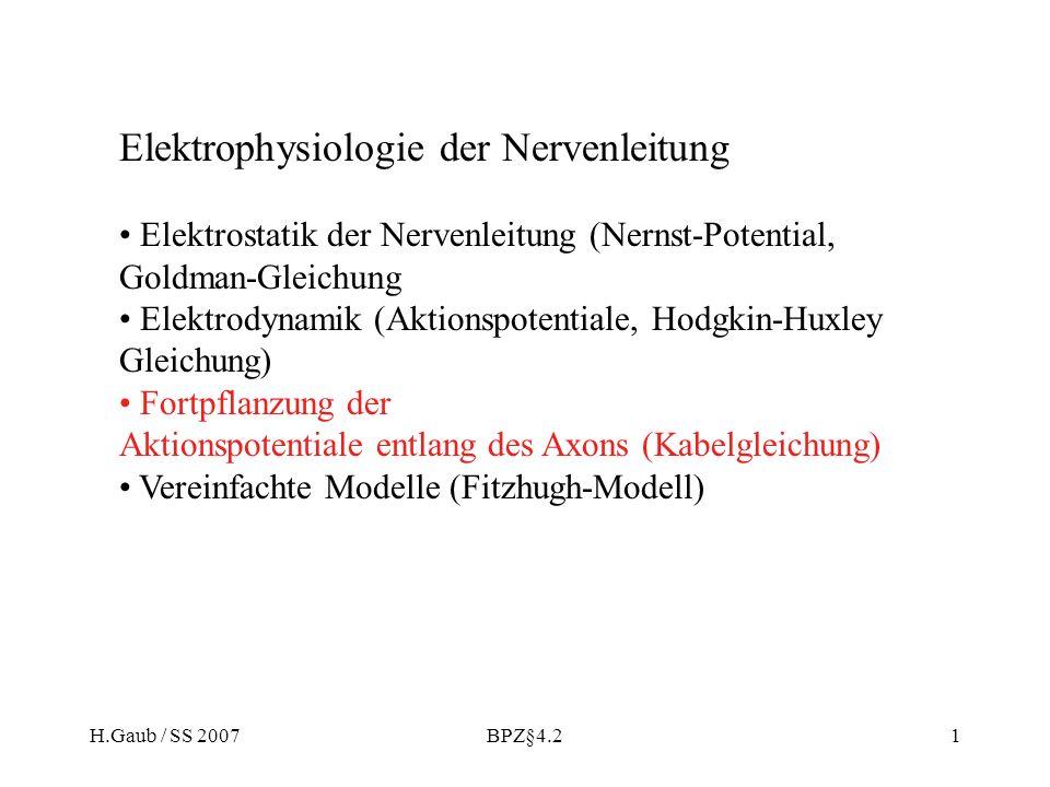 H.Gaub / SS 2007BPZ§4.21 Elektrophysiologie der Nervenleitung Elektrostatik der Nervenleitung (Nernst-Potential, Goldman-Gleichung Elektrodynamik (Akt