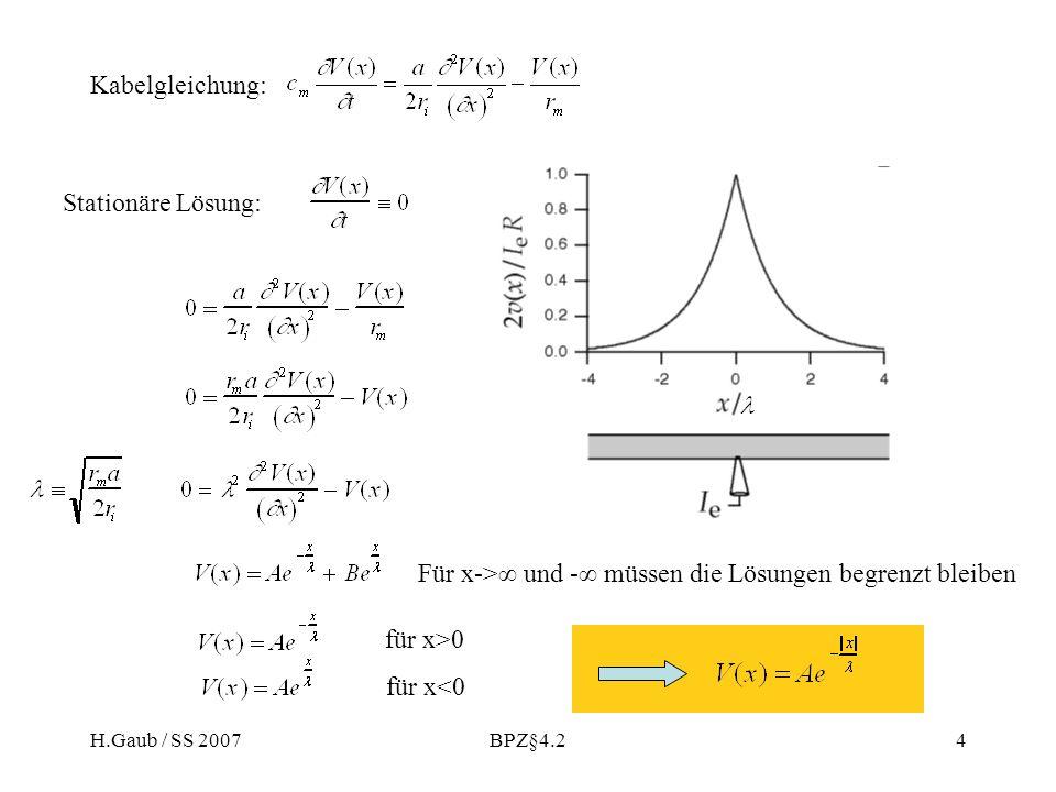 H.Gaub / SS 2007BPZ§4.24 Stationäre Lösung: Für x-> und - müssen die Lösungen begrenzt bleiben für x>0 für x<0 Kabelgleichung: