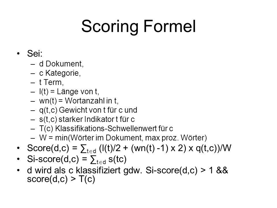 Scoring Formel Sei: –d Dokument, –c Kategorie, –t Term, –l(t) = Länge von t, –wn(t) = Wortanzahl in t, –q(t,c) Gewicht von t für c und –s(t,c) starker Indikator t für c –T(c) Klassifikations-Schwellenwert für c –W = min(Wörter im Dokument, max proz.