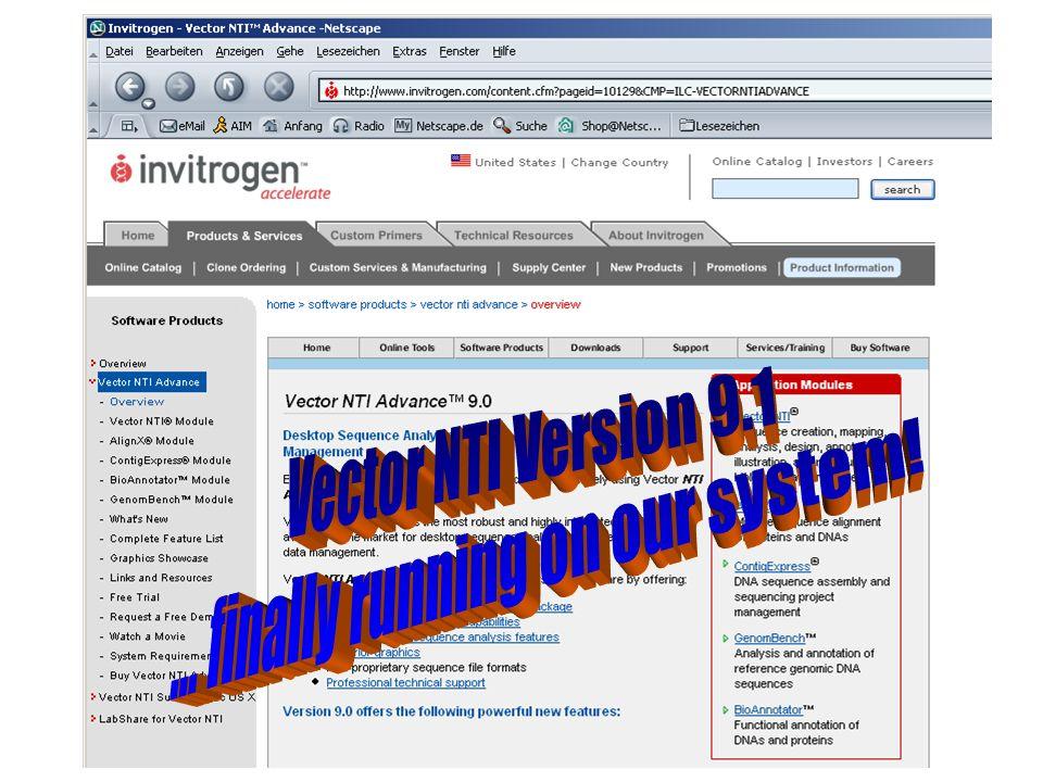 1) Download Programmpaket: Vector NTI Advance 9.1
