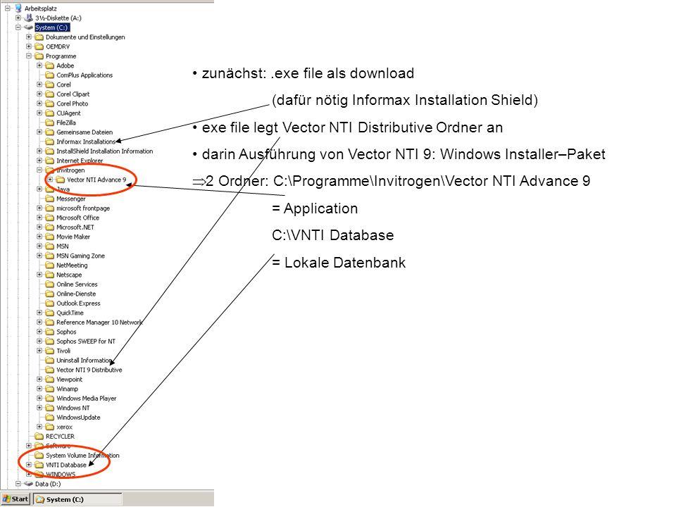 zunächst:.exe file als download (dafür nötig Informax Installation Shield) exe file legt Vector NTI Distributive Ordner an darin Ausführung von Vector NTI 9: Windows Installer–Paket 2 Ordner: C:\Programme\Invitrogen\Vector NTI Advance 9 = Application C:\VNTI Database = Lokale Datenbank