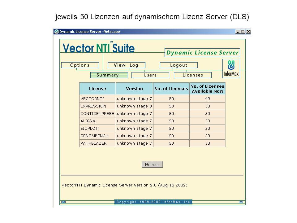 jeweils 50 Lizenzen auf dynamischem Lizenz Server (DLS)