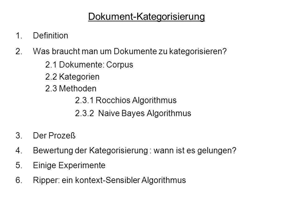 Dokument-Kategorisierung 1.Definition 2.Was braucht man um Dokumente zu kategorisieren? 2.1 Dokumente: Corpus 2.2 Kategorien 2.3 Methoden 2.3.1 Rocchi
