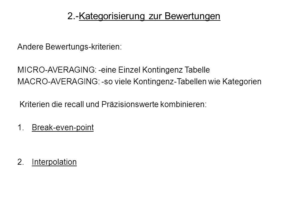 2.-Kategorisierung zur Bewertungen Andere Bewertungs-kriterien: MICRO-AVERAGING: -eine Einzel Kontingenz Tabelle MACRO-AVERAGING: -so viele Kontingenz
