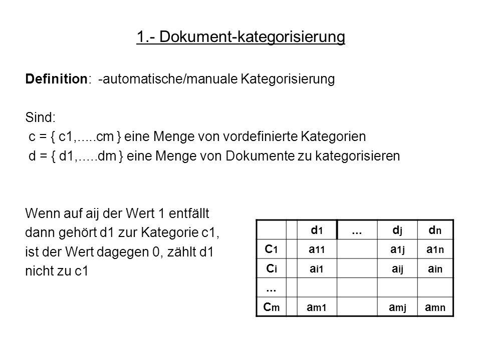 1.- Dokument-kategorisierung Definition: -automatische/manuale Kategorisierung Sind: c = { c1,.....cm } eine Menge von vordefinierte Kategorien d = {