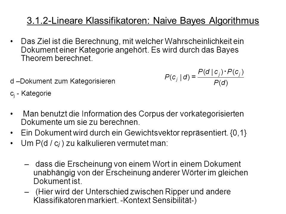 3.1.2-Lineare Klassifikatoren: Naive Bayes Algorithmus Das Ziel ist die Berechnung, mit welcher Wahrscheinlichkeit ein Dokument einer Kategorie angehö