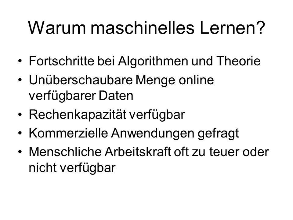 Maschinelles Lernen Betrachte maschinelles Lernen als Lernen von Input-Output-Funktionen Idee: –gegeben Trainingsmenge, z.B.